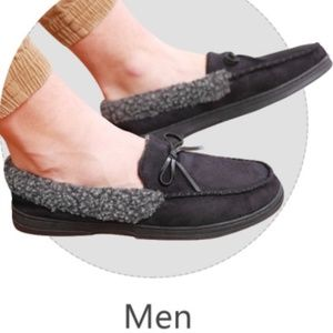 Men's Black Memory Foam Non Slip Moccasin Slippers